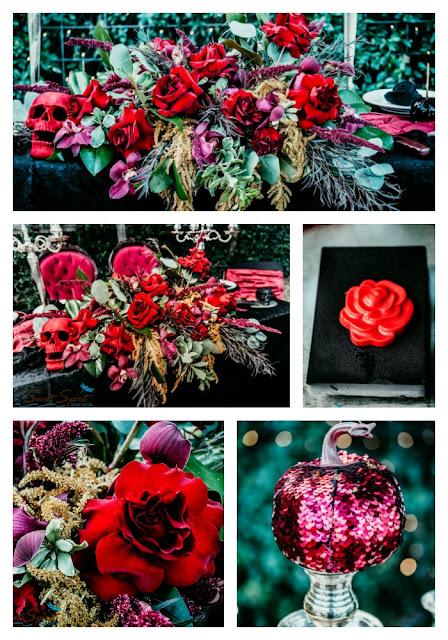 October Wedding inspiration_Halloween Weddings _ Red Floral Decor