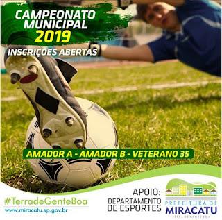 Miracatu abre inscrições para o Campeonato Municipal de Futebol 2019