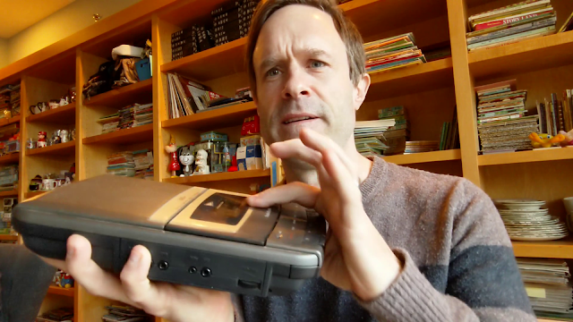 picture of me holding a cassette recorder machine