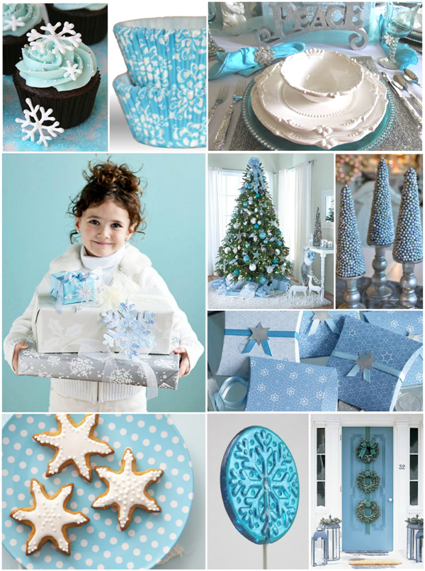 Blue and White Frosty Snowflakes Holiday Party Ideas - via BirdsParty.com