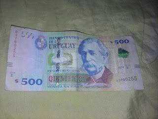 Billete auténtico de quinientos pesos uruguayos