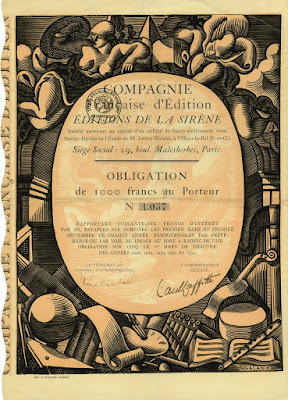 Obligation 1000 Francs in Editions de la Sirene, design by Demetrios Galanis