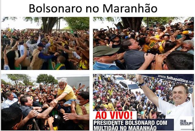 BOLSONARO NO MARANHÃO: Foi recebido por uma multidão e Flávio Dino com raiva usa uma brincadeira  do presidente para esconder a miséria
