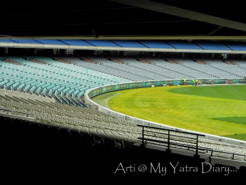 Side view of the MCG cricket grounds, Melbourne Victoria
