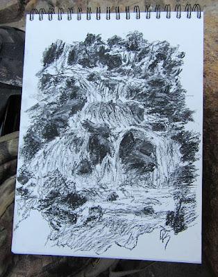 art charcoal nature sketch waterfall creek