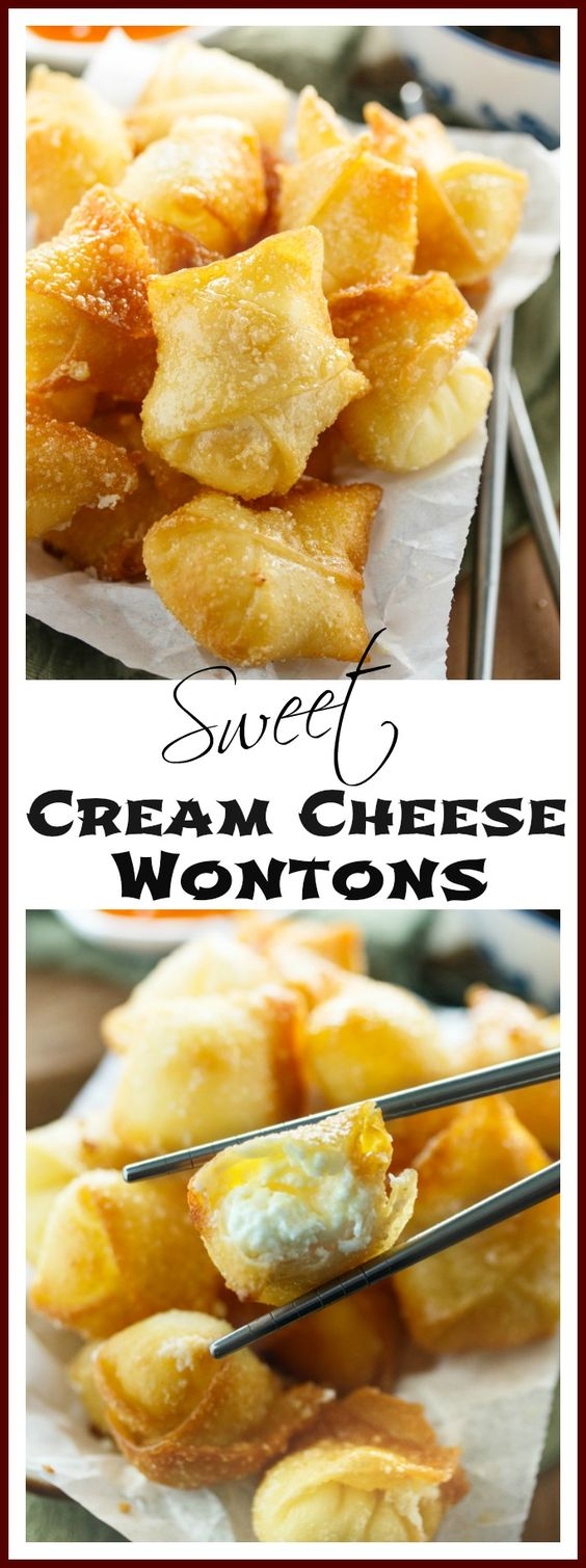 Sweet Cream Cheese Wontons #recipes #chineserecipes #food #foodporn #healthy #yummy #instafood #foodie #delicious #dinner #breakfast #dessert #lunch #vegan #cake #eatclean #homemade #diet #healthyfood #cleaneating #foodstagram