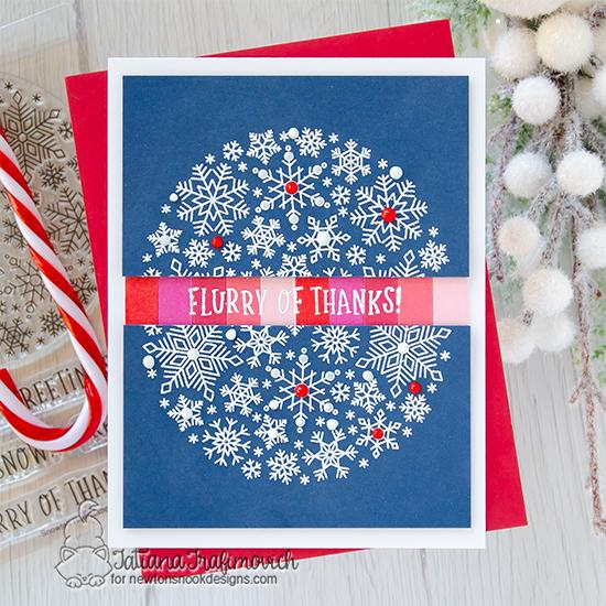 Flurry of Thanks! Snowflake Card by Tatiana Trafimovich | Snowfall Roundabout Stamp Set by Newton's Nook Designs #newtonsnook #handmade