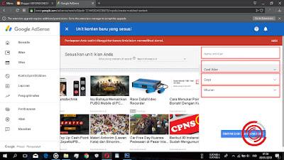 Lalu silakan beri nama unit iklan Matched Content nya, lalu setting Opsi Iklan, Gaya, dan Ukurannya.