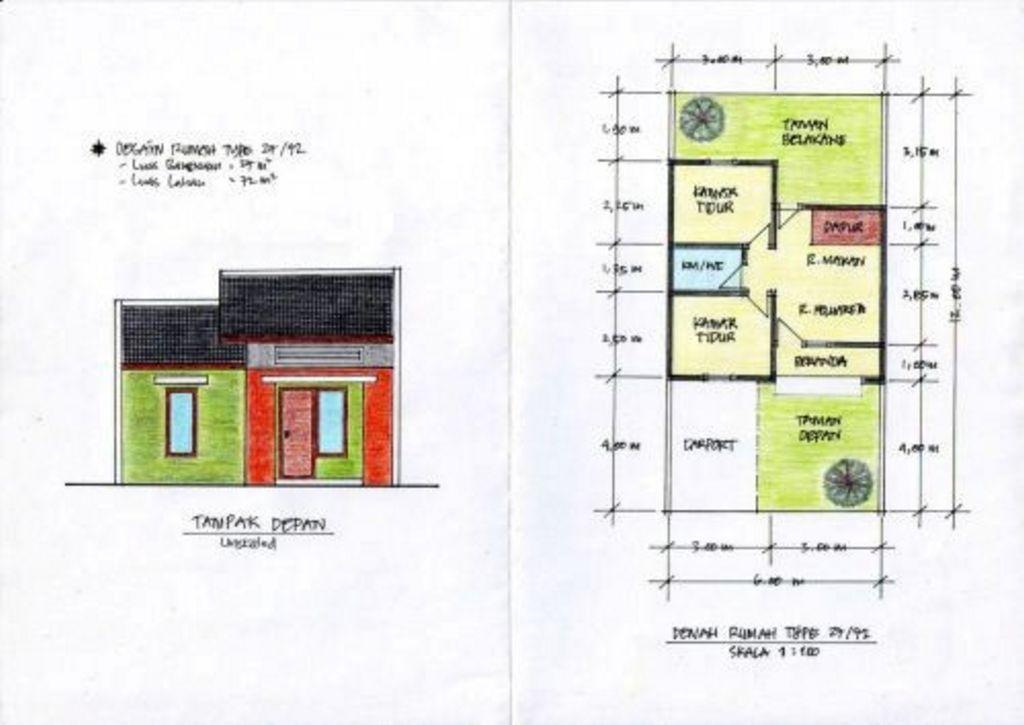 Model Denah Rumah Minimalis Type 27 Menarik