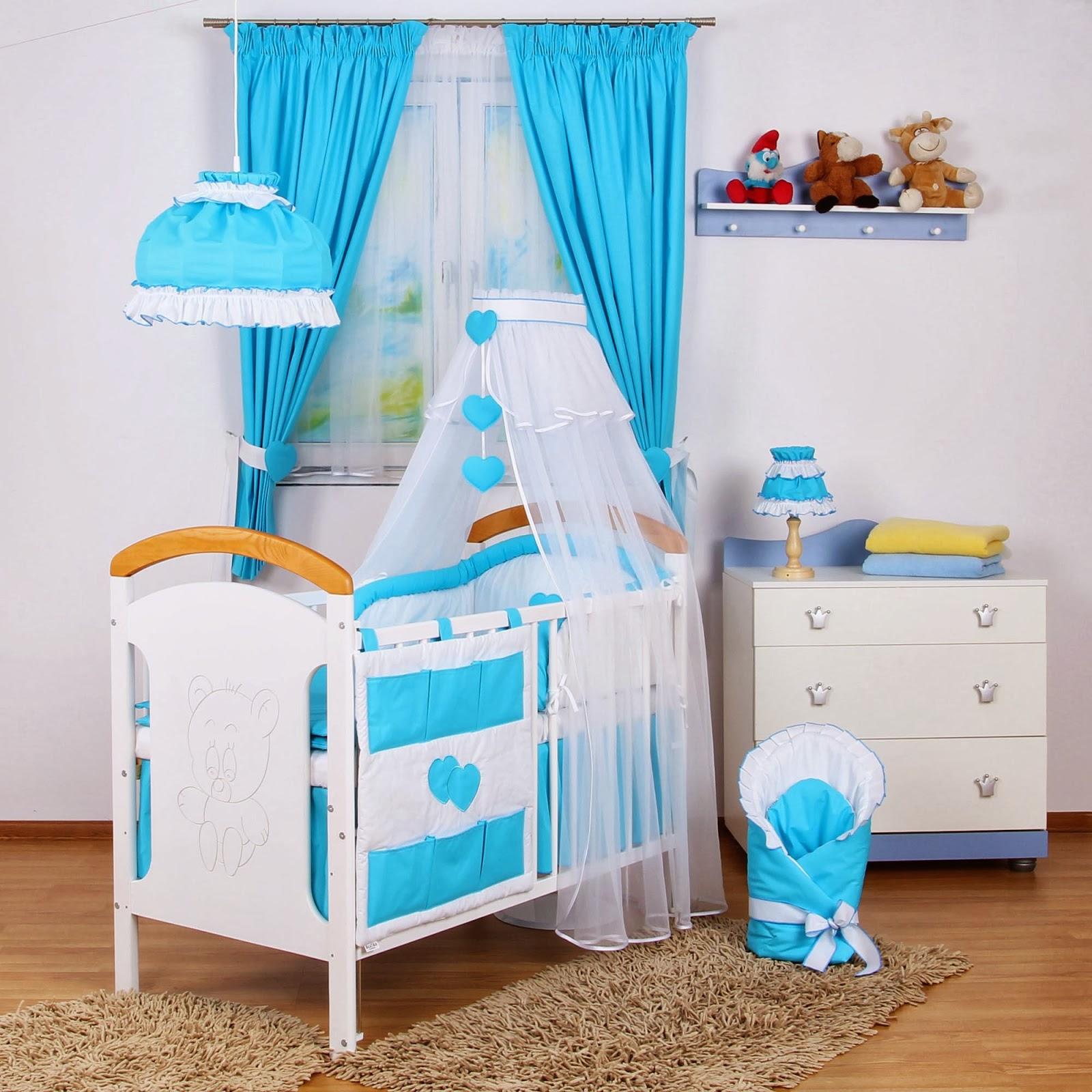 Dormitorios para beb en blanco y turquesa dormitorios - Cortina para cuarto de bebe ...