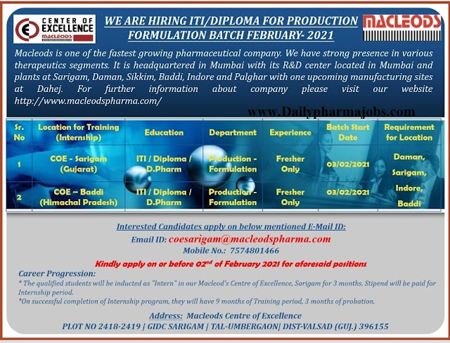 Macleods Pharma | Walk-in interview for Production on 2nd Feb 2021