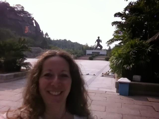 Jodi Brunner at Bruce Lee theme park, Guangdong Province, China
