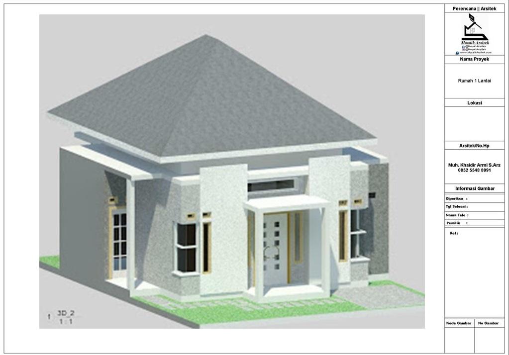 Mozaik Arsitek Desain Rumah Type 60 Di Luas Tanah 92m2 8x12