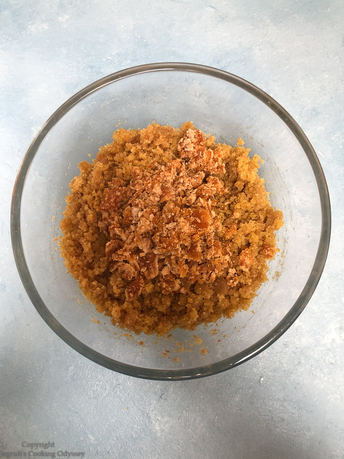 Microwave Churma Ladwa step 5 cooked mixture and grated jaggery