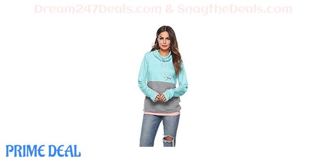 35% OFF Women's Casual Color Block Hooded Sweatshirt