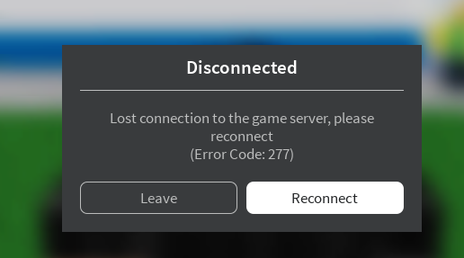 Roblox Error code 277 on Windows 10