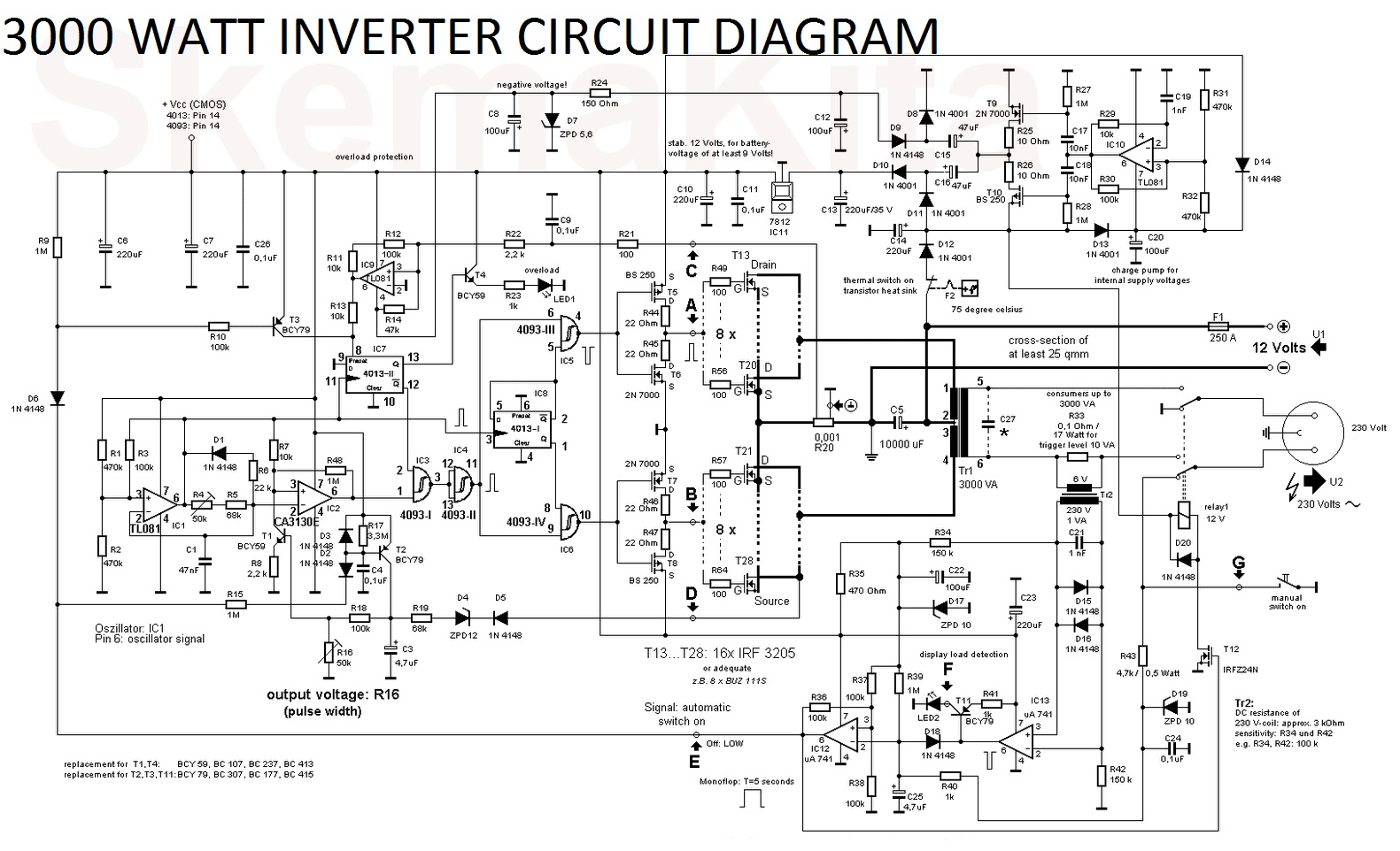 3000 watt inverter circuit diagram electronic circuit rh elcircuit com circuit diagram of inverter 12v to 220v circuit diagram of inverter welding machine