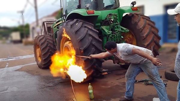 pneu gasolina wd40 fogo
