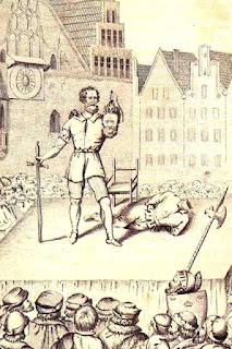 Ścięcie Dompniga (miedzioryt z poł. XIX w.), Rynek we Wrocławiu
