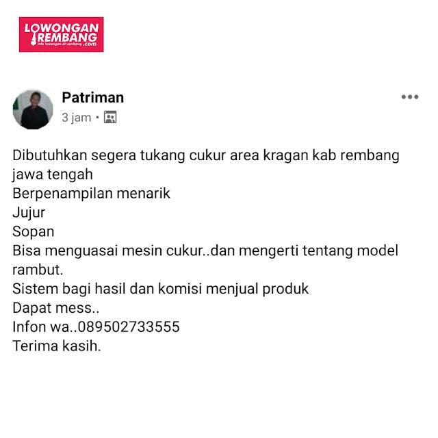 Lowongan Kerja Tukang Cukur Kragan Rembang