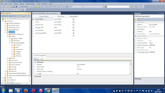 db2 - Membua Aplikasi Registrasi Siswa Gres Dengan Visual Studio 2012