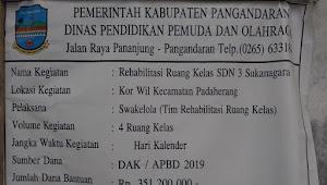 Rehabilitasi Ruang Kelas SDN-3 Sukanagara Diduga Tidak Sesuai RAB
