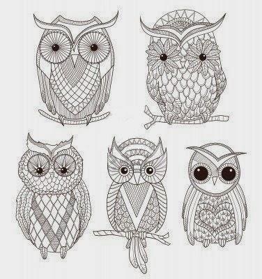 Small Owls tattoo stencil