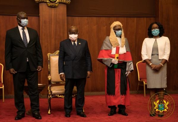 President Akufo-Addo Swears In Supreme Court Justices Honyenuga & Tanko Amadu