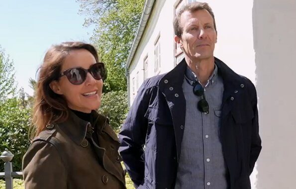 Prince Joachim, Princess Marie, Prince Henrik and Princess Athena. Brown trench coat, Versace sunglasses