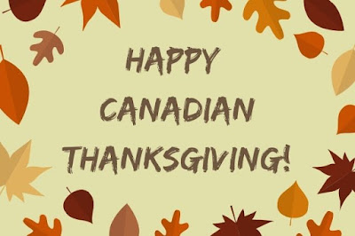 Happy Canadian Thanksgiving text on maple leaf background.