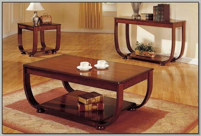 Dark Cherry Wood Coffee Table Set