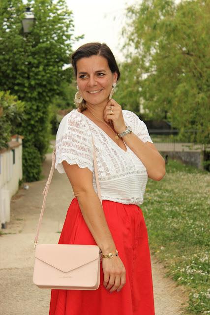 robe maje rouge, robe transformée en jupe, look du jour, les petites bulles de ma vie
