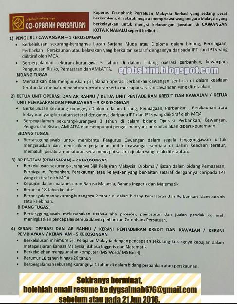 jawatan kosong di koperasi bank persatuan malaysia berhad 2016