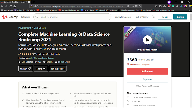 Udemy Complete Machine Learning & Data Science Bootcamp 2021: