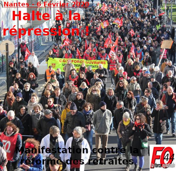 """""""HALTE À LA RÉPRESSION !"""" ~ """"NON À LA RÉFORME DES RETRAITES !"""""""