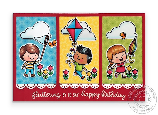 Sunny Studio Blog: Fluttering By Kids with Butterfly Net, Kite & Rainbow Umbrella Birthday Card (using Spring Showers Stamps, Eyelet Lace Border Dies & Spring Fling Paper)