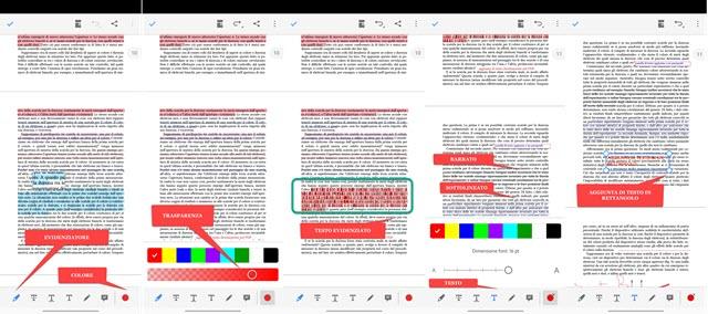 aggiunta di evidenziazione e di testo ai PDF