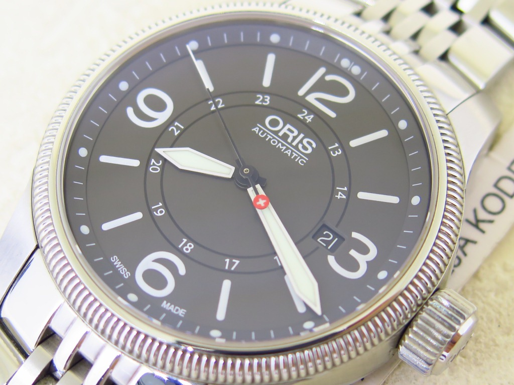 ORIS SWISS HUNTER BIG CASE BLACK 3 6 9 12 DIAL - AUTOMATIC