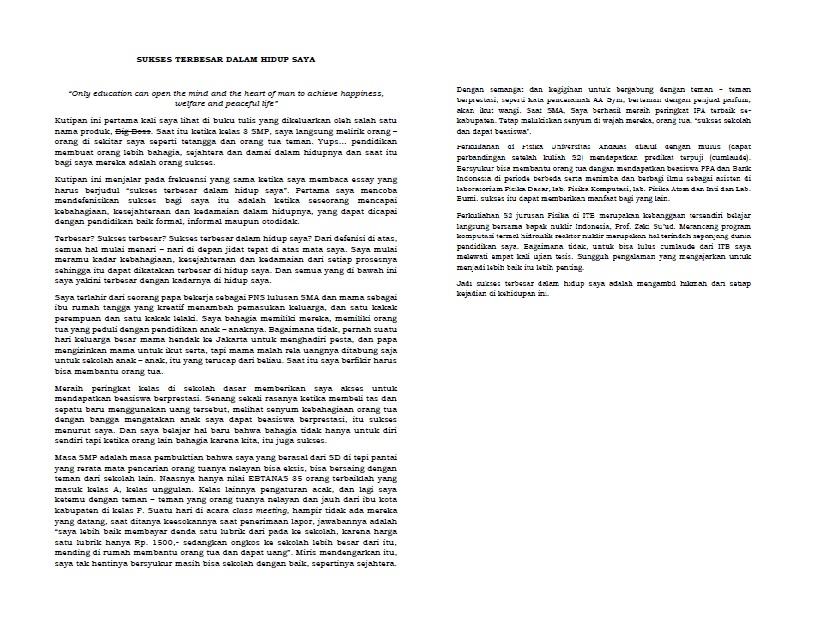 essay kesuksesan terbesar dalam hidupku