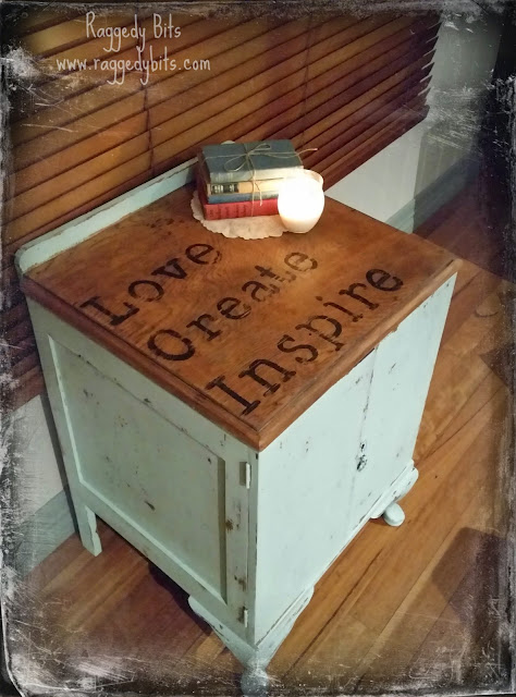 "Up Cycled ""Love, Create, Inspire"" Cupboard. 