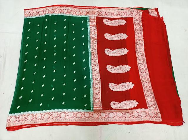 Banarasi Designer Pure Khaddi Chiffon Kadwa saree