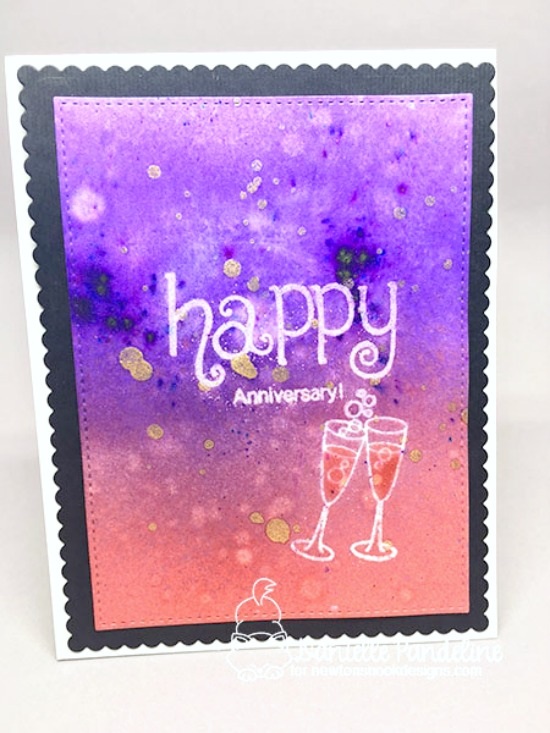 Anniversary Card by Danielle Pandeline | Years of Cheers Stamp set by Newton's Nook Designs #newtonsnook