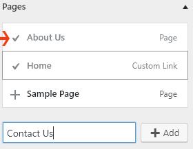 Pages menu, WordPress