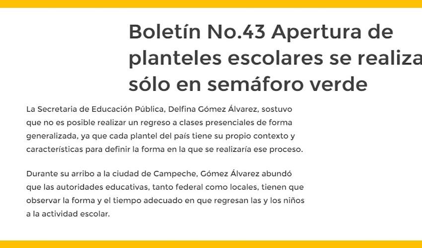 Boletín No.43 Apertura de planteles escolares se realizará sólo en semáforo verde