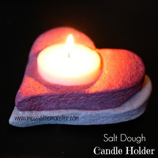 salt dough heart candle holder craft