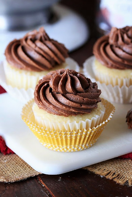 Chocolate Cream Cheese Frosting on Vanilla Cupcake Image