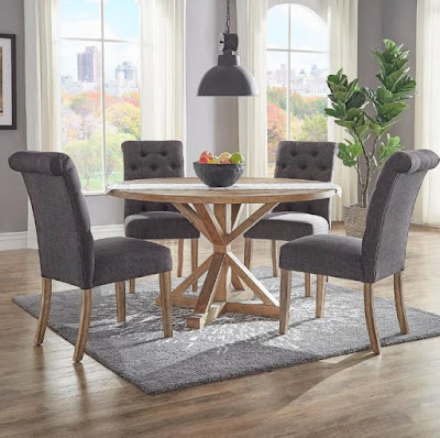 Gray dining room furniture with round wooden dining table