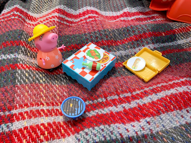 close up of Mummy next to the picnic and spilt bottle of water