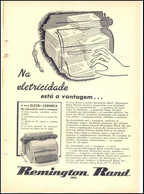 Propaganda da Remington Rand promovendo a máquina de escrever elétrica, no começo dos anos 50