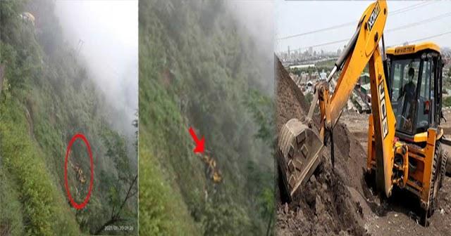 हिमाचल: पहाड़ी से गिरा पत्थर JCB से टकराया, फिर गाड़ी भी खाई में गिरी- नहीं बचा ड्राइवर
